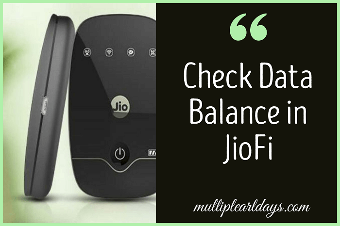 check data balance in jiofi